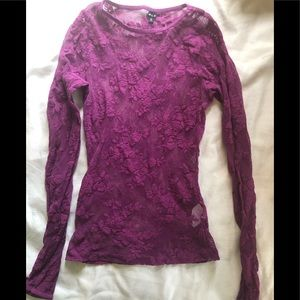 NWOT Fuchsia Fishnet Top with Floral Pattern